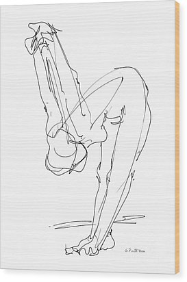 Wood Print featuring the drawing Nude Female Drawings 10 by Gordon Punt