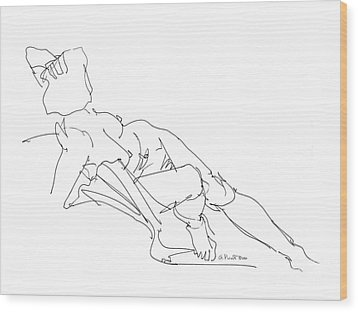 Wood Print featuring the drawing Nude Female Drawings 3 by Gordon Punt