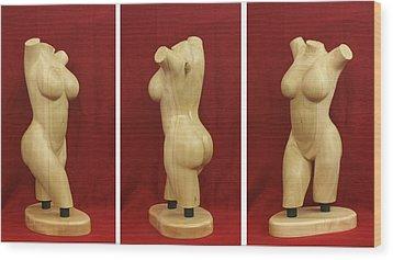 Nude Female Wood Torso Sculpture Roberta    Wood Print by Mike Burton
