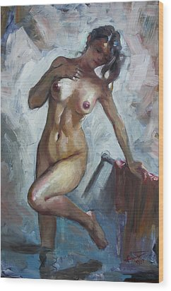 Nude In Shower Wood Print by Ylli Haruni