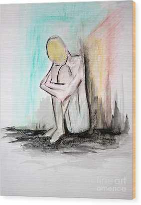 Wood Print featuring the painting Nude In Watercolor 4 by Julie Lueders