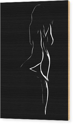 Nude In White And Black Wood Print by Steve K