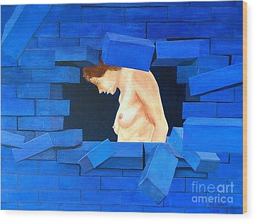 Nude Lady Through Exploding Wall Wood Print