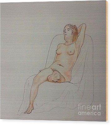 Nude Life Drawing Wood Print