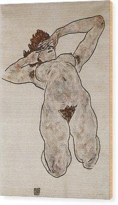 Nude Lying Down Wood Print by Egon Schiele