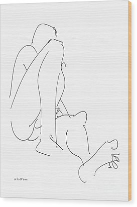 Nude-male-drawing-12 Wood Print by Gordon Punt