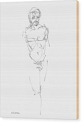 Nude Male Drawings 9 Wood Print by Gordon Punt