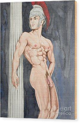 Nude Male Spartan Wood Print by The Artist Dana