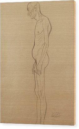 Nude Man Wood Print by Gustav Klimt