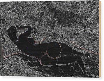 Nude Model Derriere Black  Wood Print by Carlos Camus