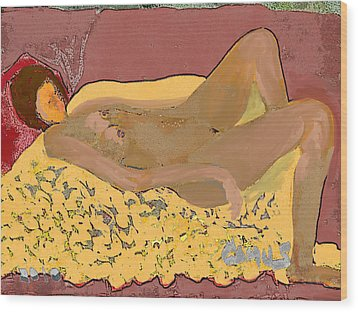 Nude Model In Relax Wood Print by Carlos Camus