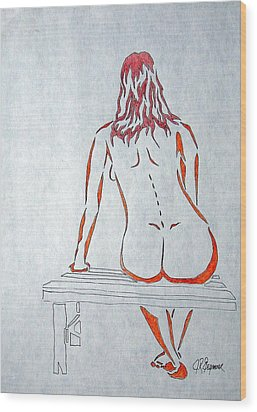 Nude On Bench Wood Print