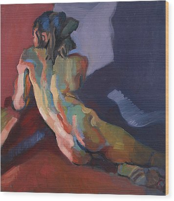 Nude Portrait Of D Wood Print by Piotr Antonow