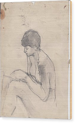 Nude Reading Wood Print by Brian Francis Smith
