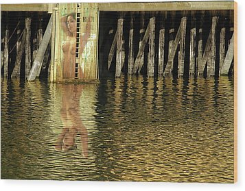 Nude Reflection Wood Print by Harry Spitz