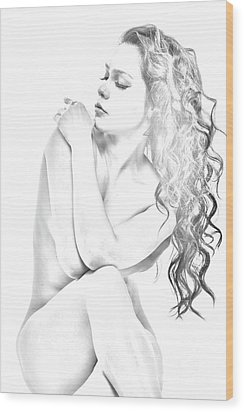 Nude Sketch Wood Print