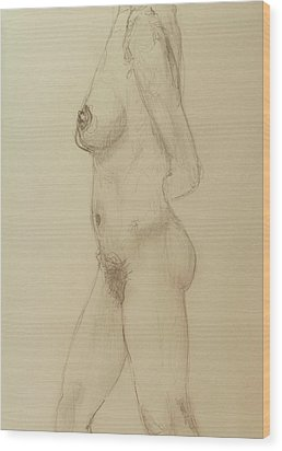 Nude Torso Standing Wood Print by Rand Swift