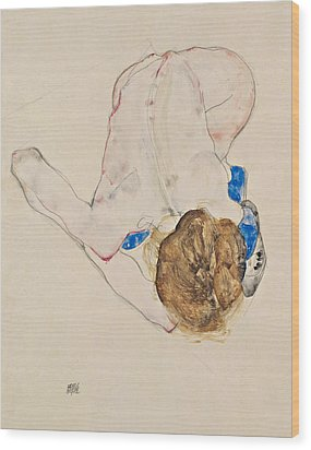 Nude With Blue Stockings, Bending Forward Wood Print