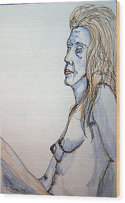 Nude With Blues Wood Print by Rand Swift