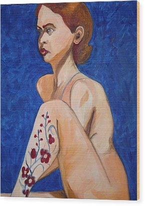 Wood Print featuring the painting Nude With Flower Tatoo by Esther Newman-Cohen