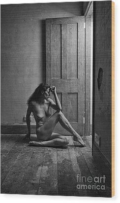 Nude Woman Sitting By Doorway In Abandoned Room Wood Print