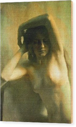 Nude Woman Wood Print by Vincent Monozlay