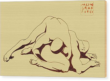 Nude Wrestlers 4 Wood Print
