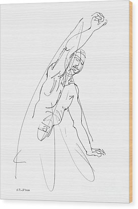 Nude_male_drawing_25 Wood Print by Gordon Punt