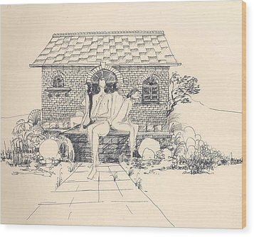 Wood Print featuring the drawing Nudes Some Rocks And A Cottage by Padamvir Singh