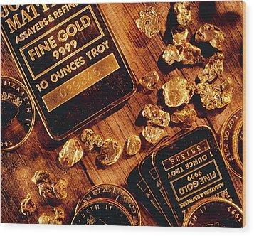 Nuggets, Bars And Coins Made Of Gold Wood Print by David Nunuk