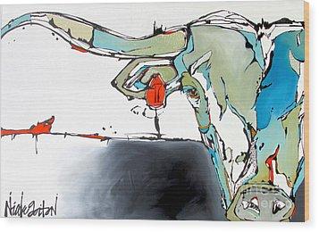 Number 17 Longhorn Steer Wood Print by Nicole Gaitan