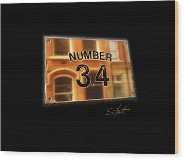 Number 34 Wood Print by Charles Stuart