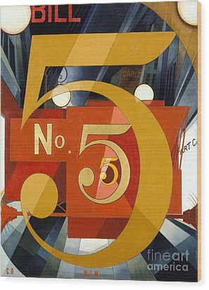 Number 5 In Gold Wood Print by Pg Reproductions