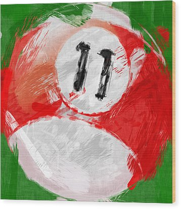 Number Eleven Billiards Ball Abstract Wood Print by David G Paul