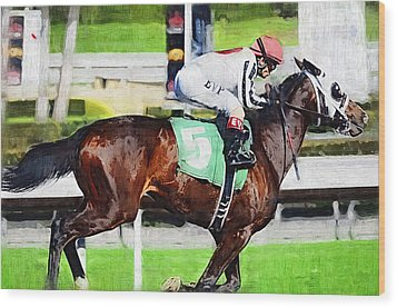 Number Five Horse Wood Print by Clarence Alford