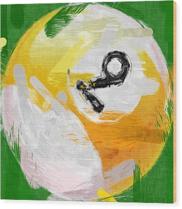 Number Nine Billiards Ball Abstract Wood Print by David G Paul