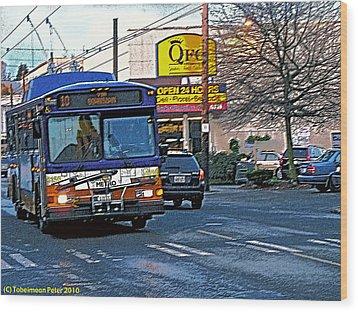 Number Ten Bus Wood Print by Tobeimean Peter