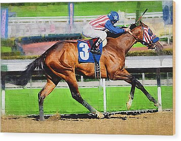 Number Three Horse Wood Print by Clarence Alford