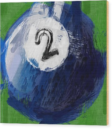 Number Two Billiards Ball Abstract Wood Print by David G Paul