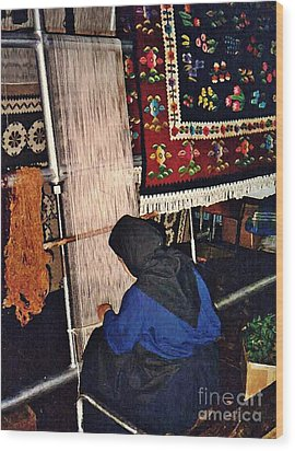 Nun Knotting Carpet Wood Print by Sarah Loft