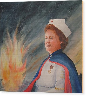 Nurse Arvin Wood Print by Mary Lou Hall