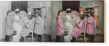 Wood Print featuring the photograph Nurse - Playing Nurse 1918 - Side By Side by Mike Savad