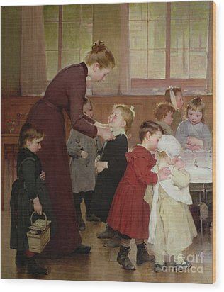 Nursery School Wood Print by Hneri Jules Jean Geoffroy