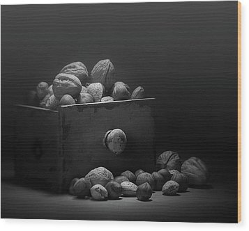 Wood Print featuring the photograph Nuts In Black And White by Tom Mc Nemar