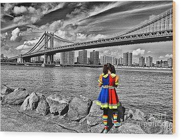 Ny Costume Party Wood Print by Alessandro Giorgi Art Photography