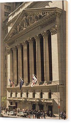 Ny Stock Exchange Wood Print by Gerard Fritz