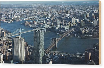 Wood Print featuring the photograph Nyc Bridges by Matthew Bamberg