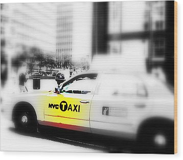 Nyc Cab Wood Print