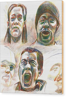 Wood Print featuring the drawing Nyc Expressions by Al Goldfarb