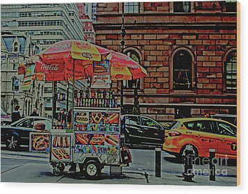 New York City Food Cart Wood Print